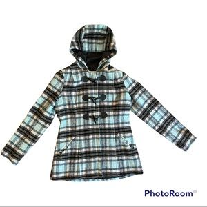 New York and Company Plaid wool blend peacoat size Small